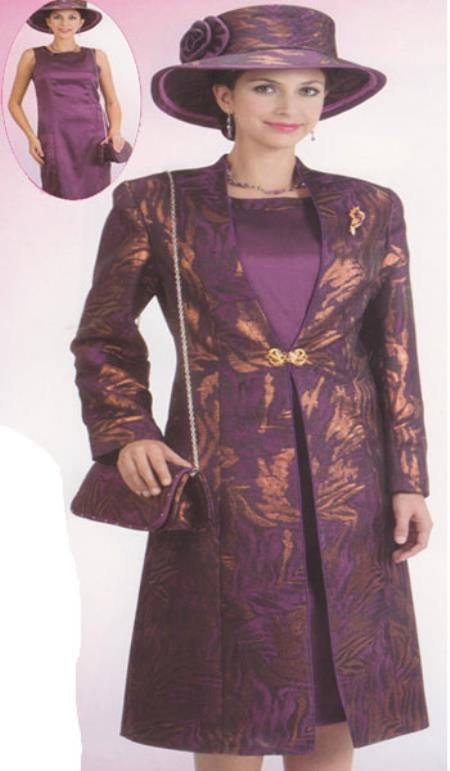 SKU#KA6111 Lynda Couture Promotional Ladies Suits- Purple With Gold $139