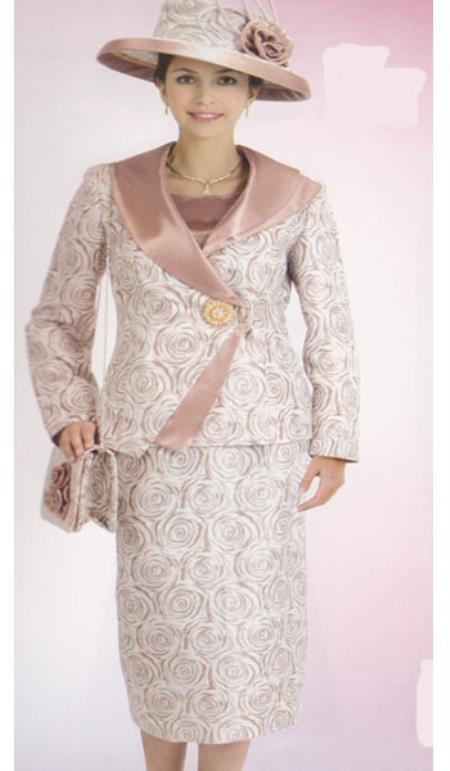 SKU#KA6120 Lynda Couture Promotional Ladies Suits- Brown With Gold $139