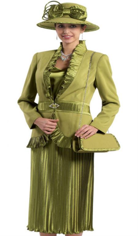 SKU#KA6123 Lynda Couture Promotional Ladies Suits- Olive $139
