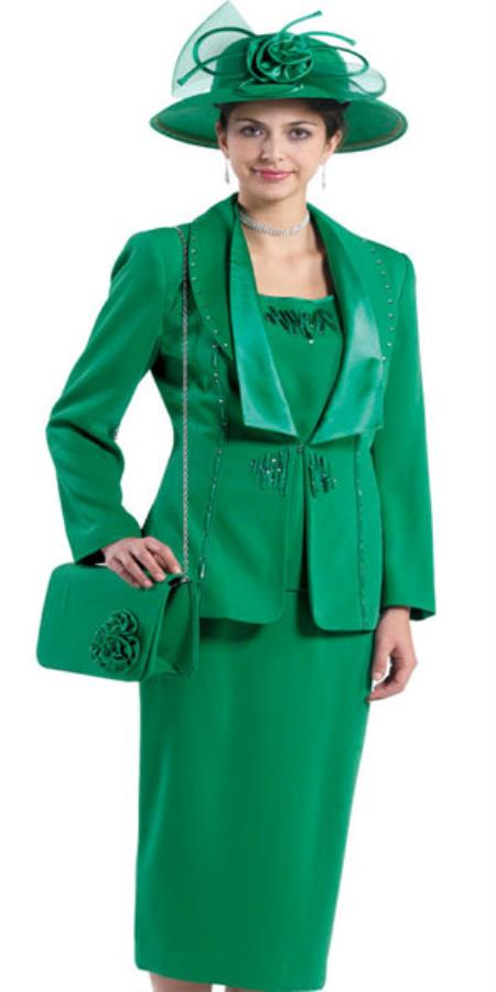 SKU#KA4526 Lynda Couture Promotional Ladies Suits - Emerald Green $139