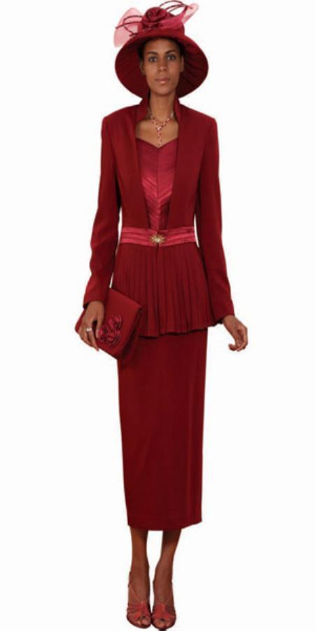 Sku Ka5726 Lynda Couture Promotional Ladies Suits Burgundy