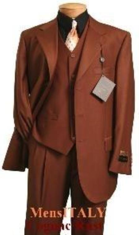 SKU# YHC628 MU3TR-3 Copper~Rust~Cognac/Rust Classic and sophisticated three piece mens dress three piece suit $125