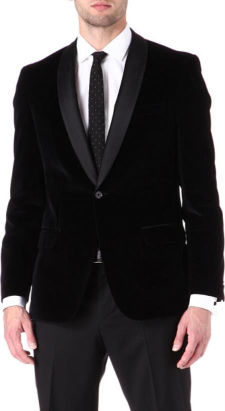 Shawl Collar Velvet Jacket