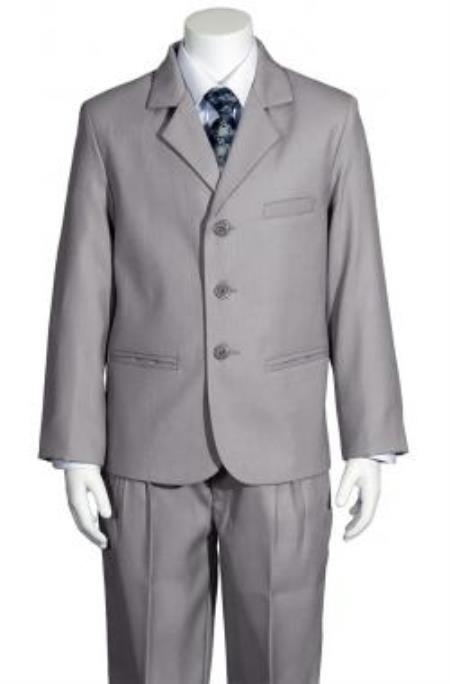 SKU#KA7845 Boys 5 Piece Silver Suit $125