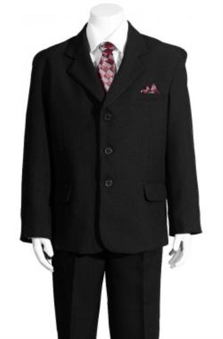 SKU#KA7835 Boys Black 5 Piece HULight Blue Suit
