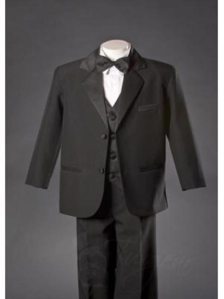 SKU#KA7836 Boys Black HuLight Blue ~ Sky 2 Button Notch Tuxedo with Black Vest $125
