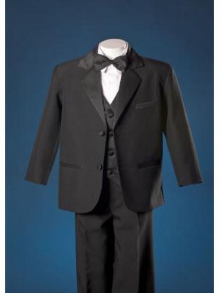 SKU#KA7846 Boys Black HuLight Blue ~ Sky 2 Button Notch Tuxedo with Black Vest By Peanut Butter $125