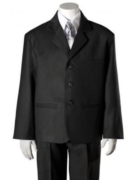 SKU#KA7857 Boys Black HULight Blue ~ Sky 5 Piece Suit $125