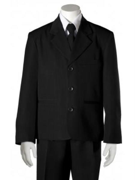 SKU#KA7858 Boys Black HULight Blue ~ Sky 5 Piece Suit $125