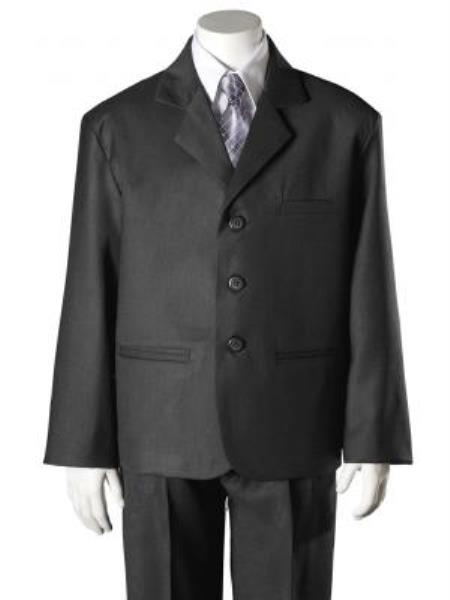 SKU#KA7958 Boys Dark Grey HULight Blue ~ Sky 5 Piece Suit $125