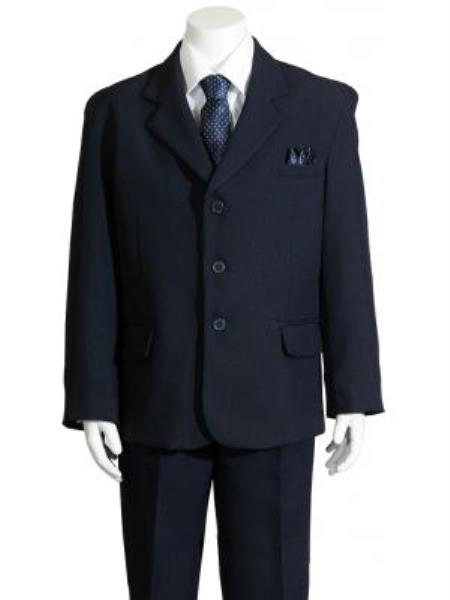 SKU#KA7058 Boys Navy HULight Blue 5 Piece Suit