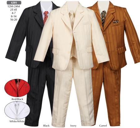SKU#KA7369 3 Button Boys Suit - Black, Ivoy, Camel $115