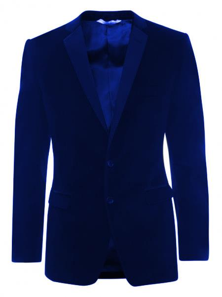 SKU#KA5528 Velveteen Dinner Sport Coat 2 Button Tuxedo Jacket & Blazer - Royal Blue $499
