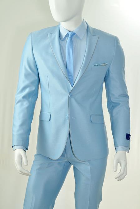 SKU#KA9745 Tapered Leg Lower rise Pants & Get skinny Slim Cut 2-Piece Suit, 2 Button Single-Breast Jacket With Peak Lapels White Trim Tuxedo Light Blue ~ Sky-Blue $149