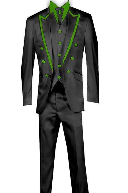 SKU#KA8065 3 Piece Blazer+Trouser +Waistcoat Trimming Tailcoat Tuxedos Suit/Jacket Lime Green ~ Apple ~ Neon Bright Green $599