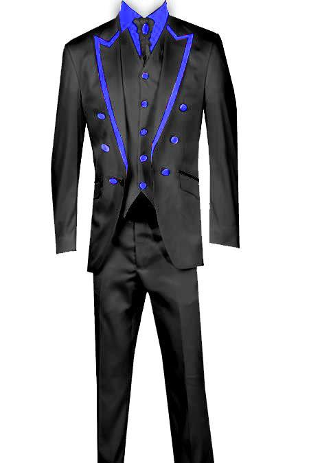 SKU#KA8165 3 Piece Blazer +Trouser +Waistcoat Trimming Tailcoat Tuxedos Suit/Jacket Blue $599