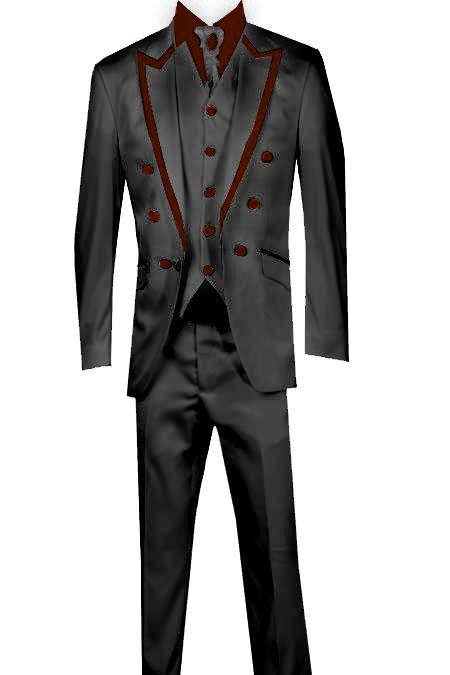 SKU#KA8365 3 Piece Blazer +Trouser +Waistcoat Trimming Tailcoat Tuxedos Suit/Jacket Burgundy ~ Maroon ~ Wine Color $599