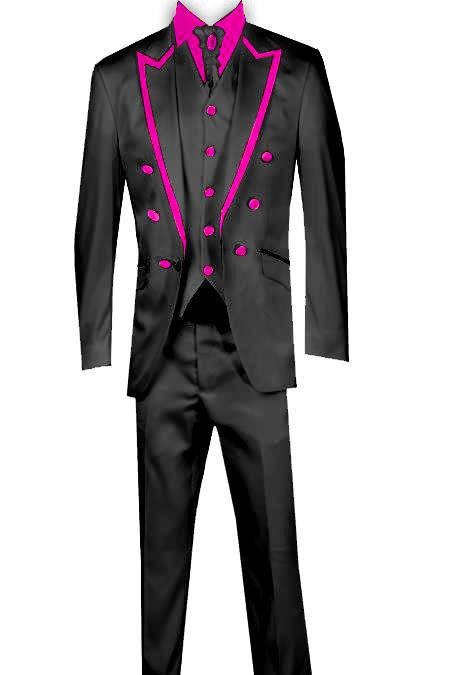 SKU#KA8465 3 Piece Blazer+Trouser+Waistcoat Trimming Tailcoat Tuxedos Suit/Jacket Dark Pink