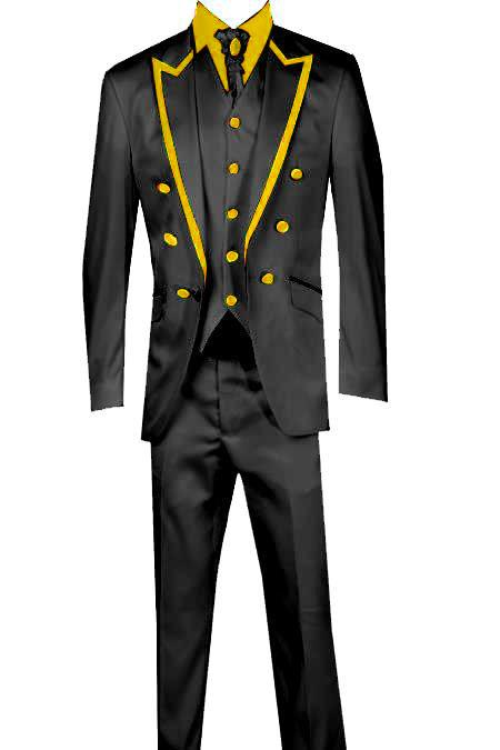 SKU#KA8575 3 Piece Blazer+Trouser+Waistcoat Trimming Tailcoat Tuxedos Suit/Jacket Gold $599