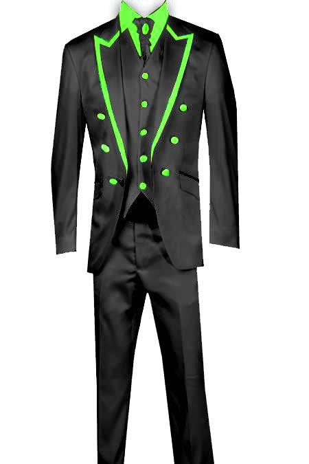 SKU#KA8676 3 Piece Blazer+Trouser+Waistcoat Trimming Tailcoat Tuxedos Suit/Jacket-Lime Green $599