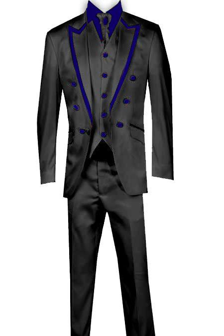 SKU#KA8677 3 Piece Blazer+Trouser+Waistcoat Trimming Tailcoat Tuxedos Suit/Jacket-Navy Blue $599