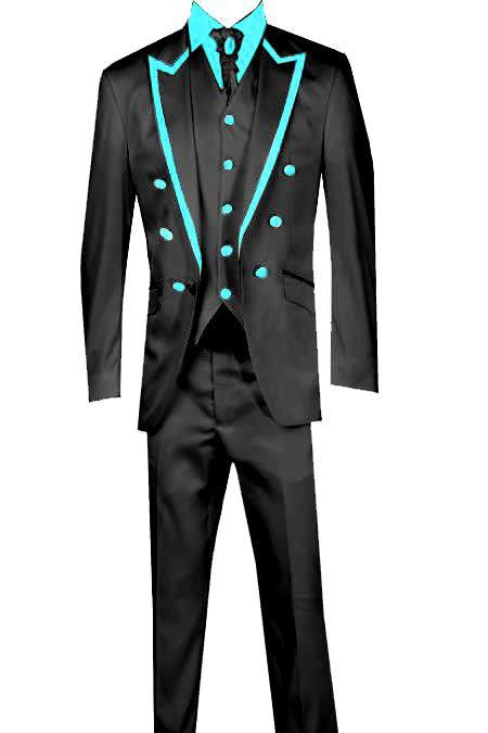 SKU#KA2697 3 Piece Blazer+Trouser+Waistcoat Trimming Tailcoat Tuxedos Suit/Jacket-Light Blue ~ Sky Blue $599