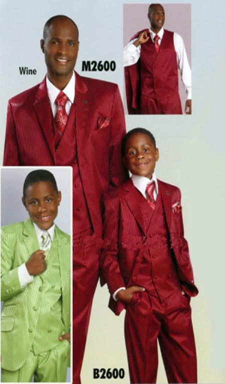 SKU#KA8644 Boys Kids Suit Ton on Ton Shadow Stripe 3 button Vested 3 Piece Available in Lime Mint , Black , White , Cream, Burgundy ~ Maroon ~ Wine Color, Chestnut $139