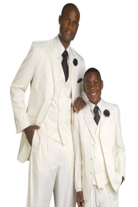 SKU#KA0887 Matching Father & Son Boys and Mens Suit & Tuxedo – Cream $149