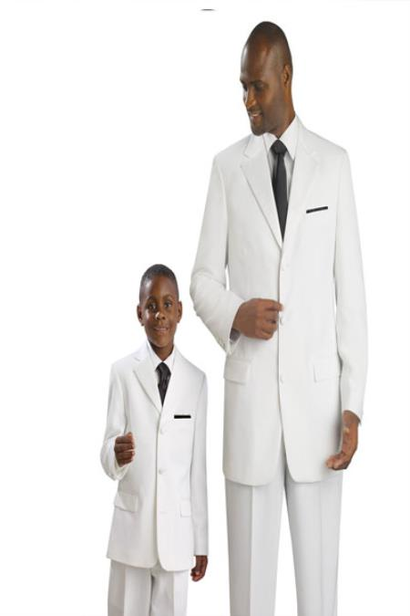 SKU#KA1887 Matching Father & Son Boys and Mens Suit & Tuxedo – White