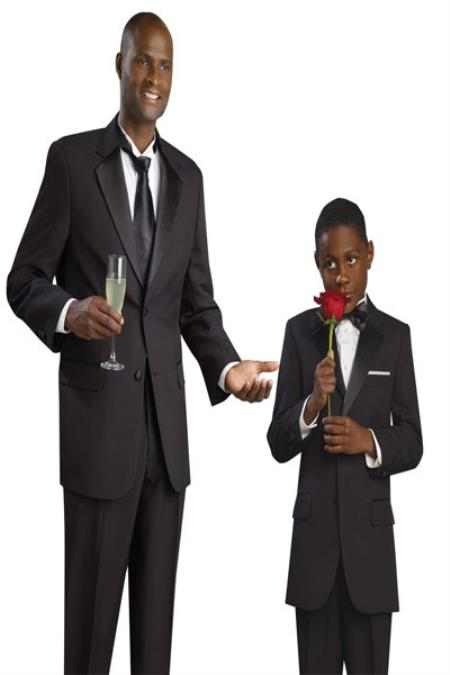 SKU#KA2887 Matching Father & Son Boys and Mens Suit & Tuxedo – Black