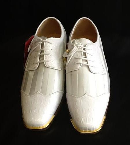 SKU#KA2241 Mens Two Tone Shoes White