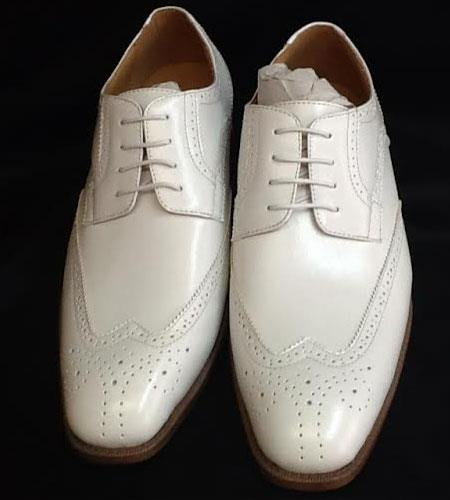SKU#KA2341 Mens Two Tone Shoes White