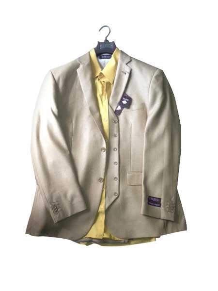 SKU#KA8105 Mens Two button Vested Gold ~ Bronz ~ Camel ~ Khaki Vested 3 Piece Dress Suit