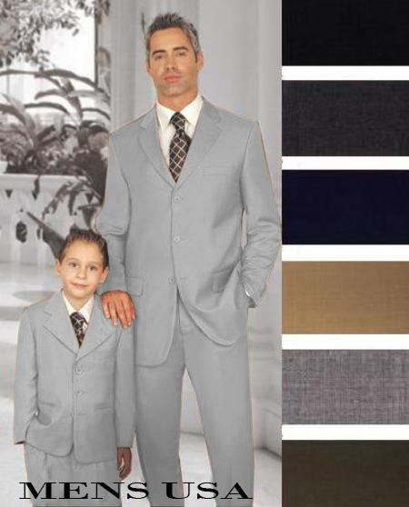 SKU#PN-31 1 Men + 1 Boy Matching Set For Both Father And Son 3 Button Wool Suit Light Grey $289