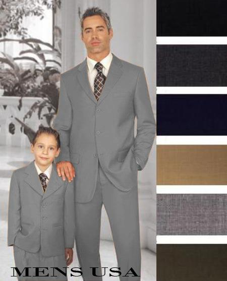 SKU#PN-32 1 Men + 1 Boy Matching Set For Both Father And Son 3 Button Wool Suit Medium Grey $289