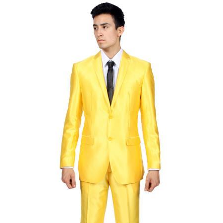 SKU#PN9546 Ferrecci Mens Slim Fit Shiny Yellow Sharkskin Suit $175