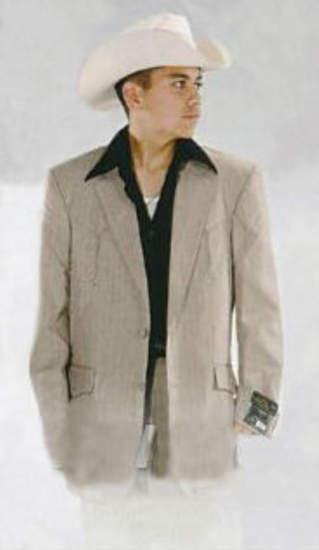 SKU#KA4747 Mens Western Suits-Beige $139