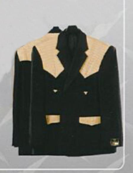 SKU#KA6547 Mens Western Suits Black-orix