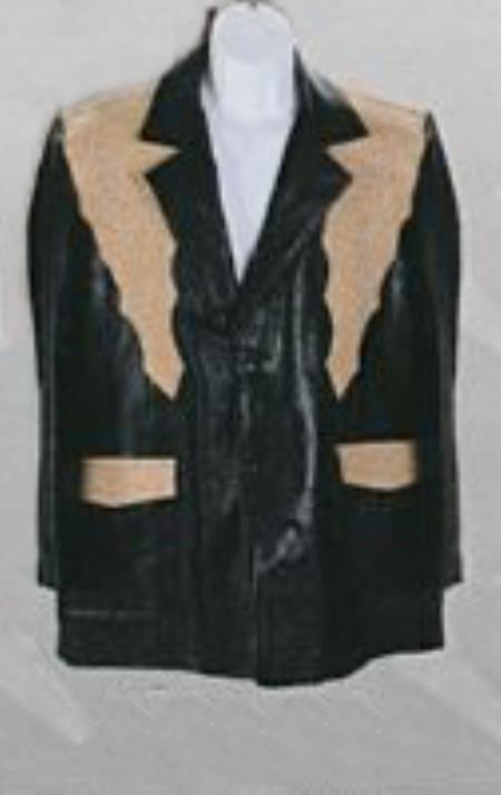 SKU#KA6047 Mens Western Suits Black-orix