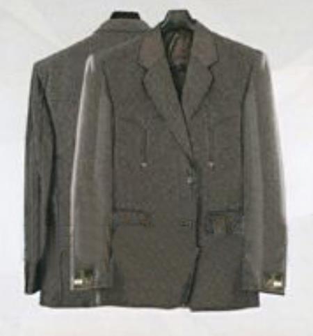 SKU#KA6121 Mens Western Suits grey