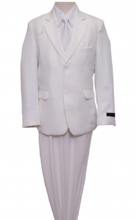 SKU#PN-54 2 Button Front Closure Boys Suit White $139