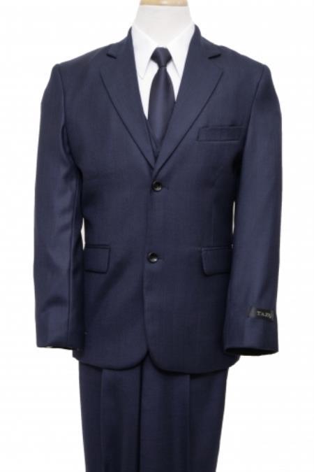 SKU#PN-55 2 Button Front Closure Boys Suit Navy