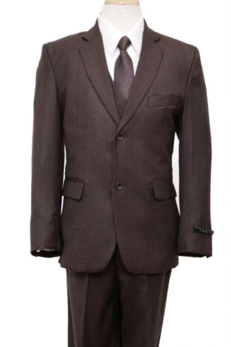 SKU#PN-56 2 Button Front Closure Boys Suit Brown $139
