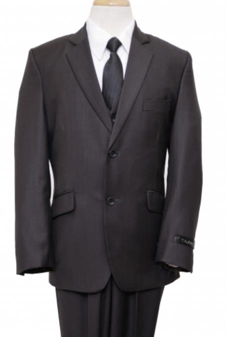 SKU#PN-61 2 Button Front Closure Boys Suit Grey