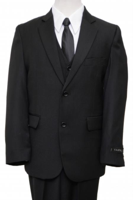 SKU#PN-62 2 Button Front Closure Boys Suit Black $79