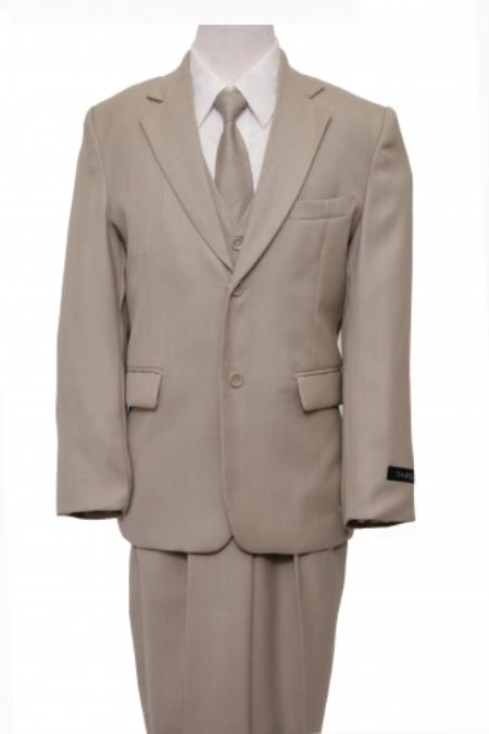 SKU#PN-63  2 Button Front Closure Boys Suit Beige $79