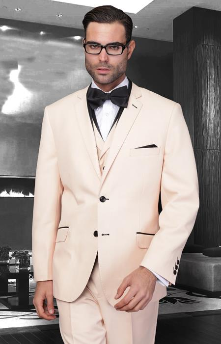 SKU#PN-29 Affordable Discounted clearance sale 3 Piece Modern Fit Suit Trimmed In Pastel Colors $189