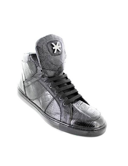 Black Genuine Crocodile ~ World Best Alligator ~ Gator Skin High-Top Casual