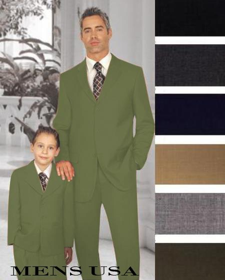 SKU#PN-22 1 Men + 1 Boy Matching Set For Both Father And Son 3 Button Wool Suit Olive Green $289