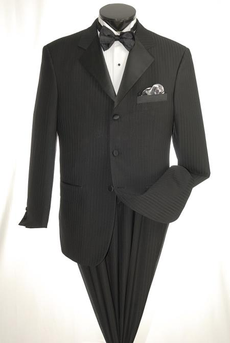 New Vintage Tuxedos, Tailcoats, Morning Suits, Dinner Jackets Mens 3 Piece Suit - Executive Pinstripe Black $199.00 AT vintagedancer.com